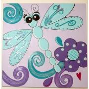 Artwork Childrens Room Decor - Flutterby 2 Kids Wall Art Canvas